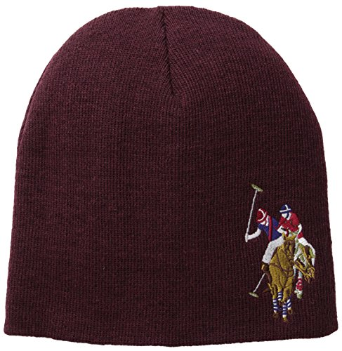 us-polo-assn-mens-solid-beanie-burgundy-heather-one-size