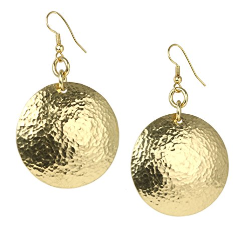 Hammered Nu Gold Brass Disc Earrings By John S Brana Handmade Jewelry Durable Brass (Gold Hammered Disc)
