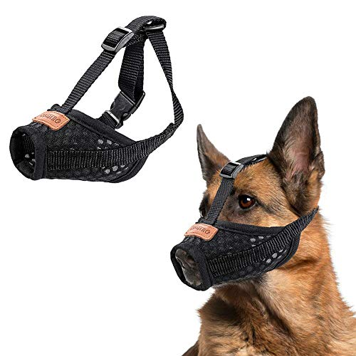 - CooZero Dog Muzzle, Nylon Dog Muzzle Mouth Cover, Air Mesh Pet Muzzle for Anti-Biting Anti-Barking Licking Adjustable Pet Mouth Cover (M, Black)