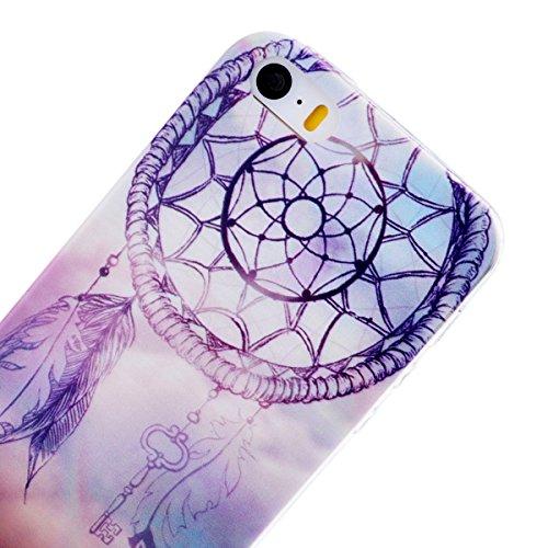 Welovecase Etui pour Apple iPhone 5 / iPhone 5S Silicone Souple Case Cas Coque Silicone Ultra Fin Extrêmement Lèger avec Motif Original Fashion (iPhone 5/5S, Motif Attrape Rêve)
