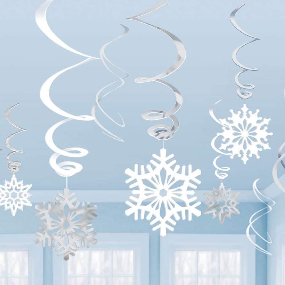 Hemore 6 piezas de copos de nieve colgantes Swirls copo de ...
