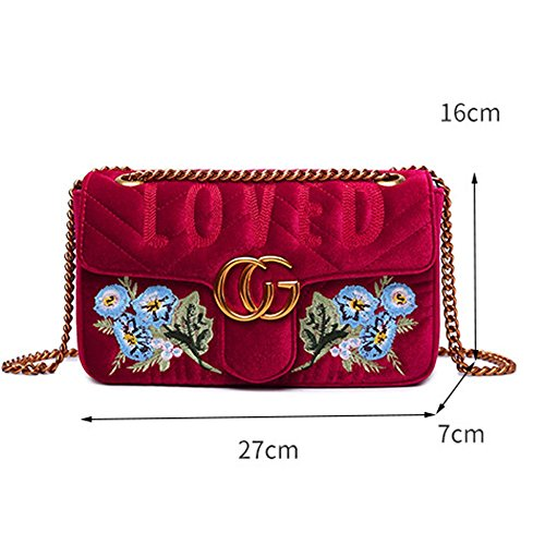 Flowers Chain OL Women Shoulder Evening Velvet Body Feathers Bag Career Bag Cross 2018 Fashion Blue Classic Purse Gold Embroidery Handbag Bag Xgq1Ow