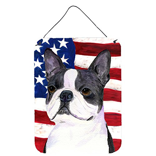 Usa Wall Boston (Caroline's Treasures SS4021DS1216 USA American Flag with Boston Terrier Wall or Door Hanging Prints, 16
