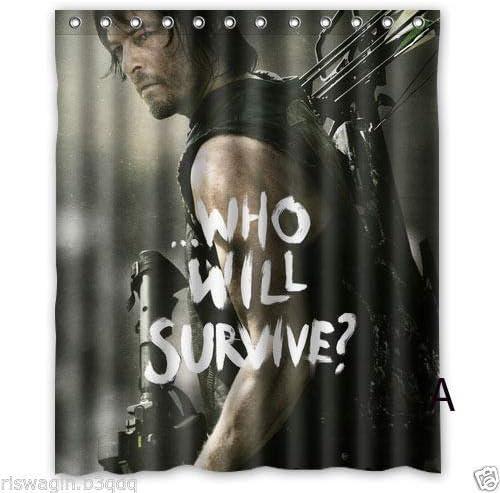 Shuli888 Walking Dead Season 6 Rideau de Douche Personnalisable en Tissu Durable Anti-moisissure Accessoires de Salle de Bain cr/éatifs avec 12 Crochets 180 x 180 cm
