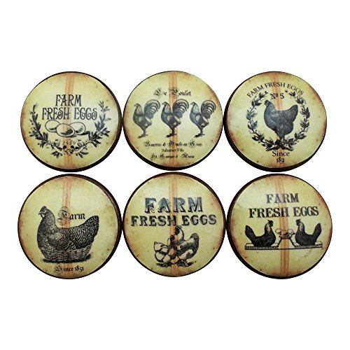 Set of 6 Farm Fresh Eggs Oversized Cabinet Knobs (Tan Stripe) (Hardware Knobs Egg Brass Cabinet)