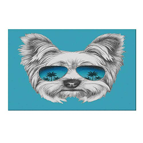 YOLIYANA Yorkie Durable Door Mat,Yorkshire Terrier Portrait with Cool Mirror Sunglasses Hand Drawn Cute Animal Art for Home Office,15.7