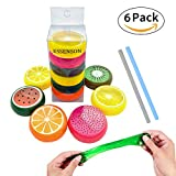 Magic Crystal Slime Putty Toy Soft Rubber Fruit Slime for Kids, Students,Birthday,Party - 6 Pack