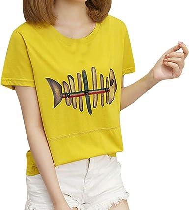 Moda para Mujer Ocio O-Cuello de Manga Corta Camiseta Espina pez ...
