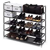 ASSICA 5 Tiers Shoe Rack Space Saving 25 Pairs Fabric Shoe / Toy Tower Shelf Storage Organizer Stand Cabinet Bench Stackable 33.5