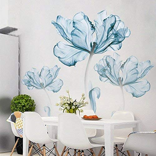 DERUN TRADING Lotus Wall Sticker Water Out of Hibiscus Wall Sticker Removable Decal Home Decor DIY Art Decoration