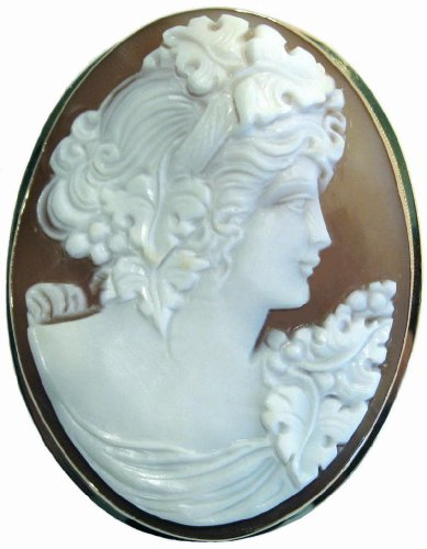 Brooch Pendant, Autumn Love, Cameo Master Carved, Sardonyx Shell 14k Gold Italian
