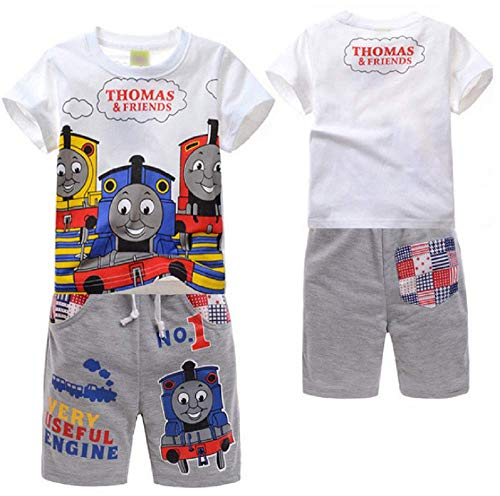 (Boys' 2-Piece Thomas and Friends Train Short Sleeve T-Shirt with Pant Toddler Cartoon Clothes Set(A, 3T))