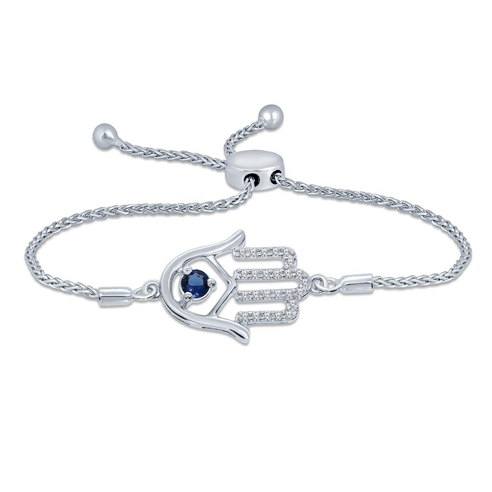 La Joya 1/10ct Round White Diamond Blue Sapphire Sterling Silver Adjustable Hamsa Strand Bolo Bracelet Mothers Day Jewelry Gift
