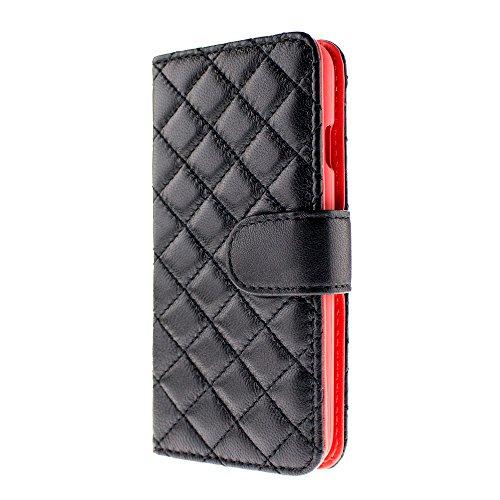 iPhone 本革 ラムレザー キルティング 手帳型 ケース 大人 可愛い シンプル 上質 上品 アイフォン カバー (右利き iPhone7 Plus, ブラック × オレンジピンク)