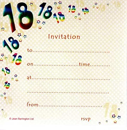 Amazon Com Pack Of 10 18th Birthday Party Invitations Kitchen