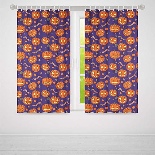 TecBillion Door Curtain,Halloween for Living Room,Pumpkins Pattern Different Face Expressions Happy Angry Scary Puzzled,103Wx72L Inches -