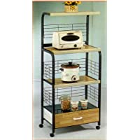 BEAUTIFUL KITCHEN MICROWAVE SHELF W. OUTLET IN BLACK