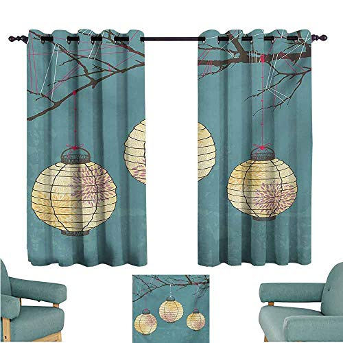 DONEECKL Windshield Curtain Lantern Three Paper Lanterns Hanging on Branches Lighting Fixture Source Lamp Boho Thermal Insulated Tie Up Curtain W55 xL39 Teal Pale - Lighting System Valence
