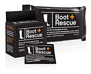 BootRescue All-Natural Cleaning Wipes for Leather and Suede Shoes & Boots. Removes Dirt, Salt Stains and Mud.