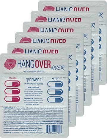 Hangover Over On-the-Go 6 pack – Natural hangover prevention supplement for drinkers - Organic Milk Thistle, Bocopa, Ashwagandha, Rhodiola, Gingko, Grape Seed, N-Acetyl Cysteine, B-Vitamin Complex