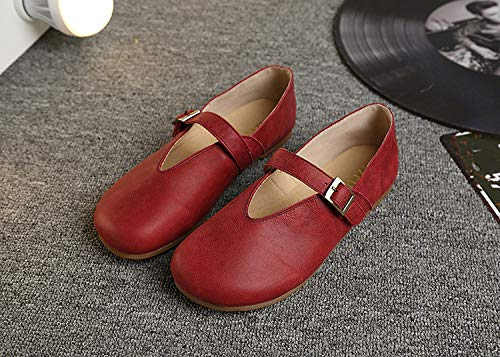 Mujer Plano Redonda Hebilla Cabeza Fondo AIMENGA Retro Zapato Planos Simple Mujer gules Zapatos wgxqHFfWHv
