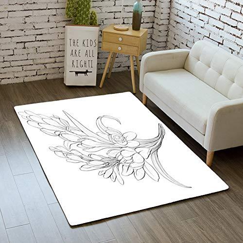 (iBathRugs Door Mat Indoor Area Rugs Living Room Carpets Home Decor Rug Bedroom Floor Mats,Vector Image Tuberose Branches Medicinal)