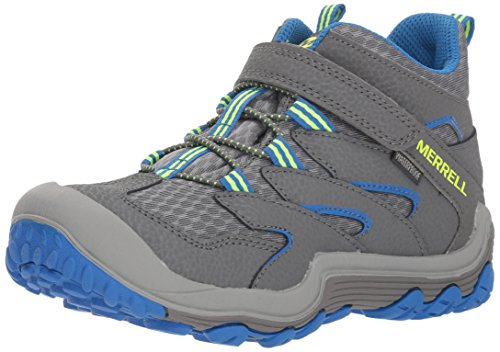 Merrell Boys' Chameleon 7 Access Mid A/C WTRPF Hiking Shoe, Grey/Blue, 3.5 Medium US Big Kid