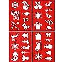 Tatuo 4ピース クリスマス ステンシル 再利用可能 プラスチック 描画 スプレーテンプレート絵画ツール クリスマスエレメントパターン