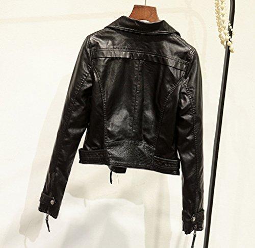 Cerniera Nero Jacket Cappotto Con Di Corto Autunno Pu Donna Lunga Punk Pelle Giacca Moto Inverno Manica ZFZT7