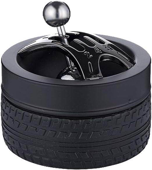 SEPILO Windaschenbecher Reifen Aschenbecher Metall schwarz matt Ascher 5-Gang Kupplung Reifenprofil seitlich und unten aus rutschfestem Hartgummi