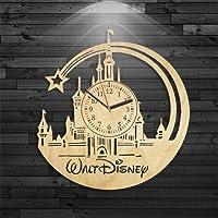 Kovides Walt Disney Wood Clock, Disney Wood Clock, Mickey Mouse Gift for Girl, Bambi Birthday Gift, Walt Disney Clock, Cinderella Wall Clock Modern, Cartoon Gift for Kids, Alice in Wonderland Clock