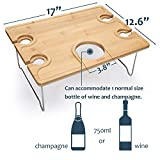 Tirrinia Outdoor Wine Picnic Table, Large Folding