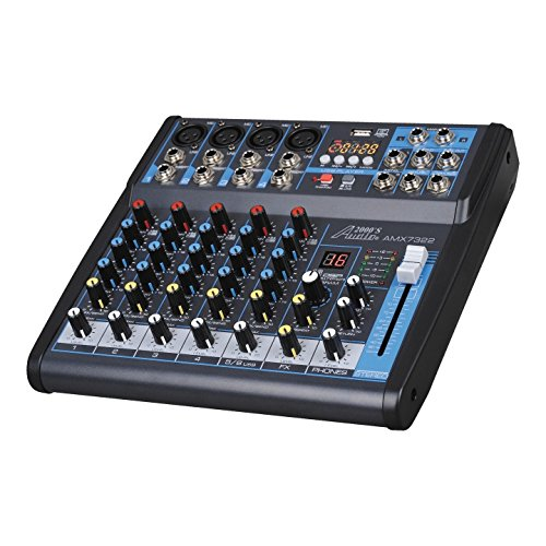 Audio 2000s AMX7322UBT 6-Channel Audio Mixer Sound Board with USB Interface, Bluettoh and Sound Effects