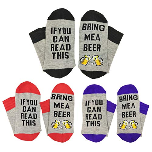 If You Can Read This Funny Saying Wine Beer Socks - HSELL Unisex Novelty Crew Party Socks Gag Gift for Men Women