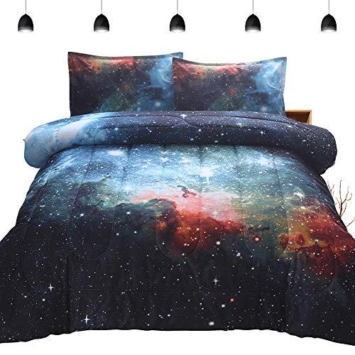 PomCo Galaxy Comforter Twin (68x88 Inch), 2Pcs(1 Galaxy Comforter & 1 Pillowcases) 3D Space Outer Sky Microfiber Bedding Set, Universe Nebula Galaxy Comforter Set for Boy Girl Teen Kid