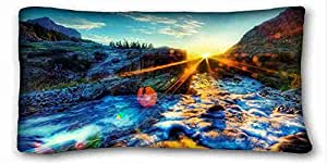 "Custom Characteristic ( Nature light foams sky images sunset bright ) Pillow Covers Bedding Accessories Size 20""X36"" suitable for King-bed PC-Purple-24284"