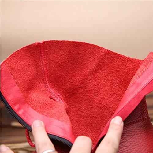 Stivaletti Zip cerniera Rosso aperta Inverno Style Sport con morbida pelle caldo Flat in impermeabile donna all'aria da Vintage 8OvnZ8rg