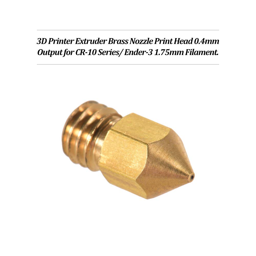 5pcs Oro-10pcs Aibecy Creality 3D Printer Extruder Brass Print Head Output 0.4mm for CR-10 Series Ender-3 1.75mm PLA ABS Filament