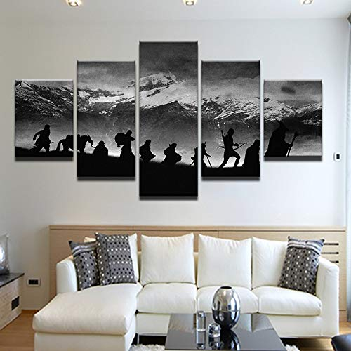 40x60 40x80 40x100cm No Frame Modular Wall Art Oil Picture Frame Modern Home Decor 5 Pieces Lord of The Rings Canvas Painting Movie Posters and Prints