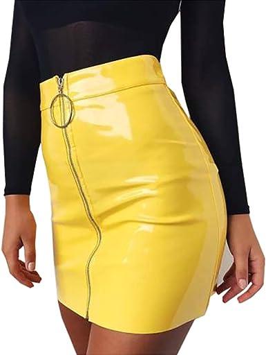 Oferta amazon: Minifalda de Mujer con Cremallera Material Falda Lápiz de Cintura Alta Mini Falda Corta de Moda de Cuero y Algodón Vestido Inferior Sexy y Elegante Skirt para Casual Fiesta Cóctel Talla L