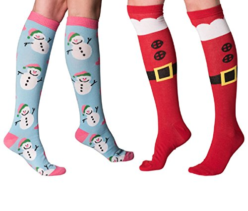 Mens & Womens Fun Novelty Holiday Halloween Xmas Socks- One Size Fits Most (One Size Fits Most (Shoe-4-10), Christmas 2PK Knee Highs-Santa Boots/Pink-Blue Snowman)