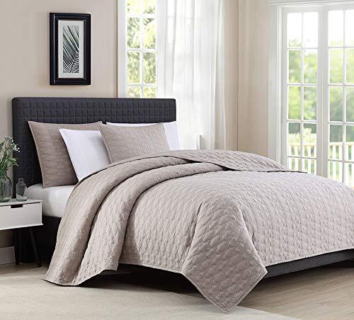 Bourina Reversible Quilt Coverlet Set Queen - Microfiber Lightweight Bedspread 3-Piece Quilt Set, Beige (Beige Set Grey And Comforter)