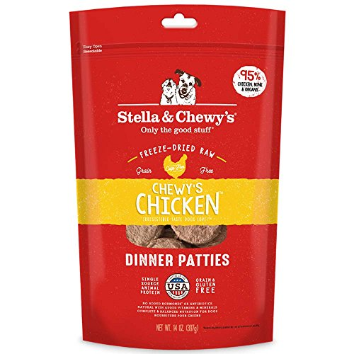 Stella & Chewy's Freeze-Dried Raw Chewy's Chicken Dinner Patties Grain-Free Dog Food, 14 oz bag ()