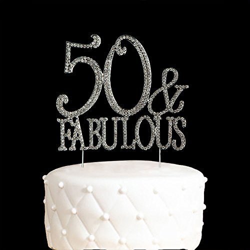 50&Fabulous Cake Topper 50 Years Birthday Or 50TH Wedding Anniversary Silver Crystal Rhinestone Party Decoration (silver)
