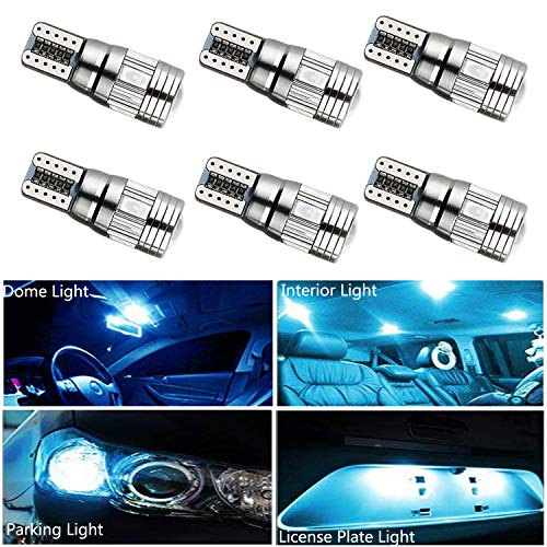 HOCOLO T10 198 194 168 912 921 W5W 2825 White Amber/Yellow Blue Green Red Ice Blue Color For Interior Dome/Map/License Plate/Parking/Door/Trunk Lights (6pcs T10 6-SMD Canbus Error Free, Ice Blue) ()