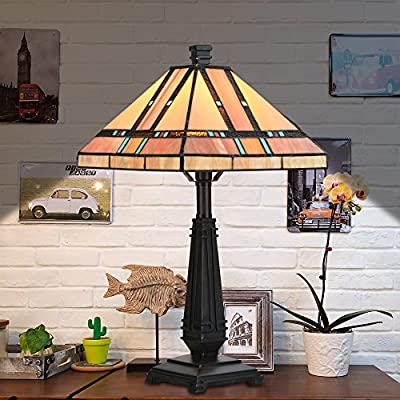 """Cloud Mountain Tiffany Style Egyptian Table Lamp Home Decor Lighting Mission Design Desk Lamp with 14"""" Lampshade"""