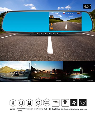 Dash Cam 1080P Full HD 43 LCD Mirror Car Video Recorder Dual Lens Vehicle Camera Car DVR Road Dash Cam With Night Vision Motion Detection