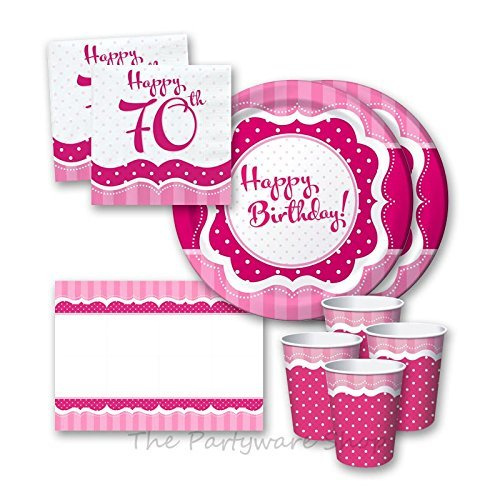 Perfectly Rosa 70th Birthday Party Tableware Pack For 16 By The Partyware Shop F28d1f