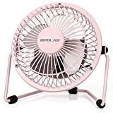 OPOLAR Mini USB Table Desk Personal Fan (USB Powered, Metal Design, Quiet Operation; 3.9 ft USB Cord, Handheld Size, Power Saving - Pink)