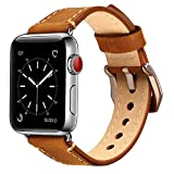 MKEKE 38mmbrownold Mkeke Apple Watch Band 38mm iWatch Strap Premium Vintage Genuine Leather Replacement Watchband with Secure Metal Clasp Buckle for Apple Watch Sport Edition (Dark Brown)